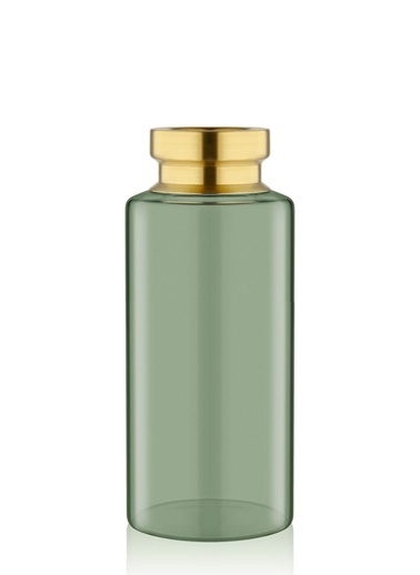 The Mia Cam Vazo Yeşil Metal Dekorlu 24*10 Cm Yeşil